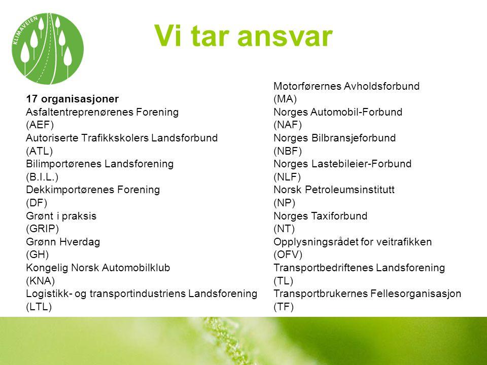Vi tar ansvar 17 organisasjoner Asfaltentreprenørenes Forening (AEF) Autoriserte Trafikkskolers Landsforbund (ATL) Bilimportørenes Landsforening (B.I.