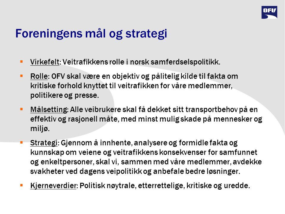 Foreningens mål og strategi  Virkefelt: Veitrafikkens rolle i norsk samferdselspolitikk.  Rolle: OFV skal være en objektiv og pålitelig kilde til fa