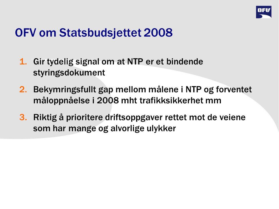 OFV om Statsbudsjettet 2008 1.Gir tydelig signal om at NTP er et bindende styringsdokument 2.Bekymringsfullt gap mellom målene i NTP og forventet målo