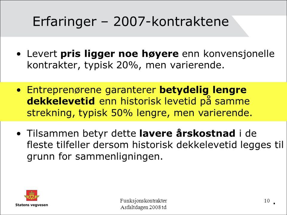 Funksjonskontrakter Asfaltdagen 2008 td 10 Erfaringer – 2007-kontraktene Levert pris ligger noe høyere enn konvensjonelle kontrakter, typisk 20%, men varierende..