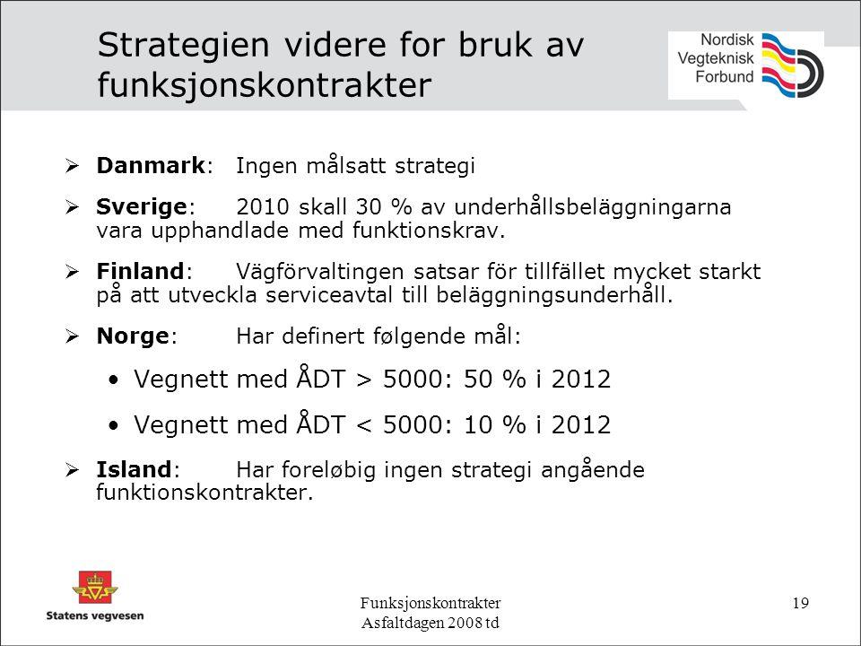 Funksjonskontrakter Asfaltdagen 2008 td 19 Strategien videre for bruk av funksjonskontrakter  Danmark:Ingen målsatt strategi  Sverige:2010 skall 30 % av underhållsbeläggningarna vara upphandlade med funktionskrav.