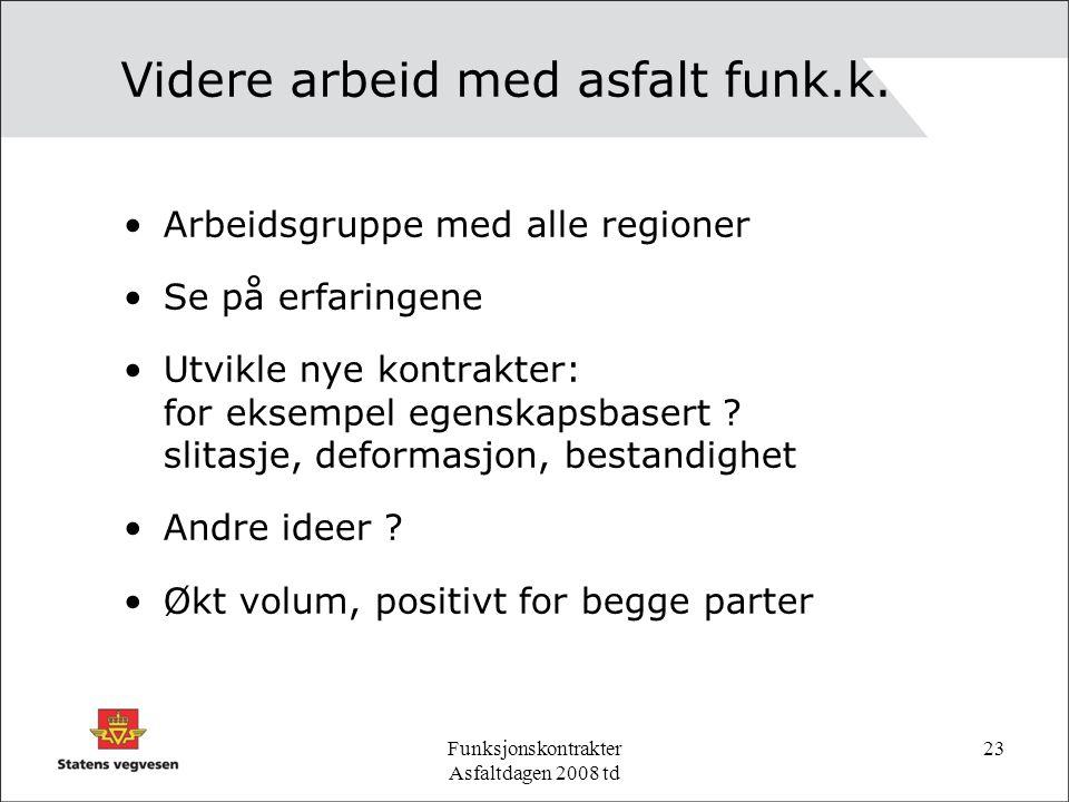 Funksjonskontrakter Asfaltdagen 2008 td 23 Videre arbeid med asfalt funk.k.