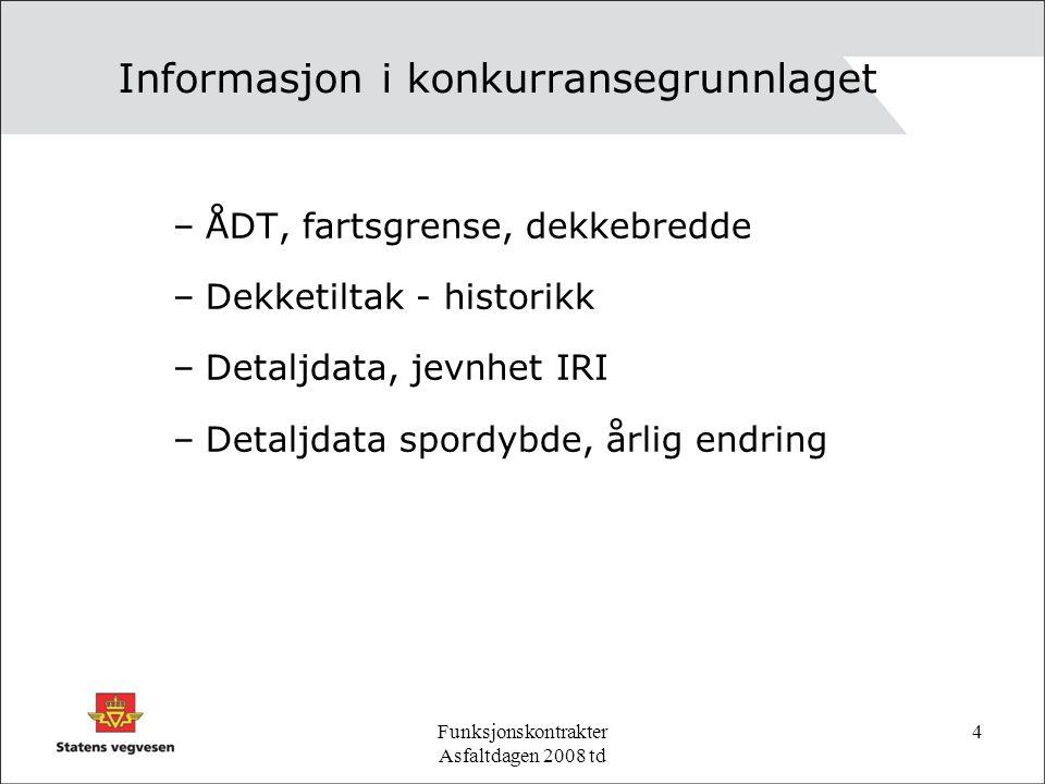 Funksjonskontrakter Asfaltdagen 2008 td 4 Informasjon i konkurransegrunnlaget –ÅDT, fartsgrense, dekkebredde –Dekketiltak - historikk –Detaljdata, jevnhet IRI –Detaljdata spordybde, årlig endring