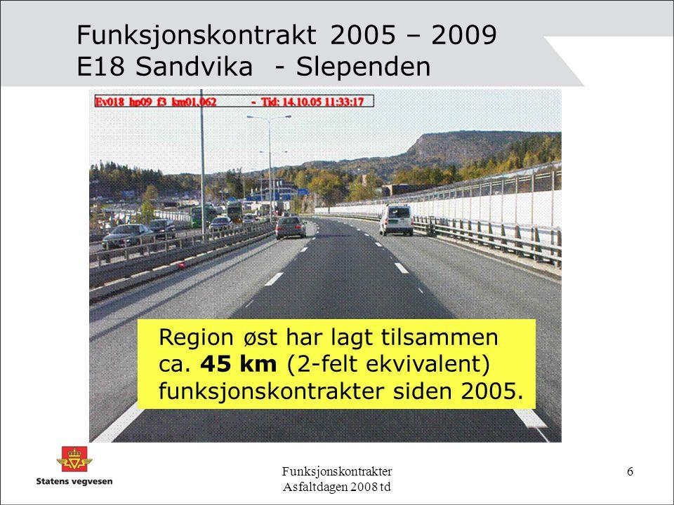 Funksjonskontrakter Asfaltdagen 2008 td 6 Funksjonskontrakt 2005 – 2009 E18 Sandvika - Slependen Region øst har lagt tilsammen ca.