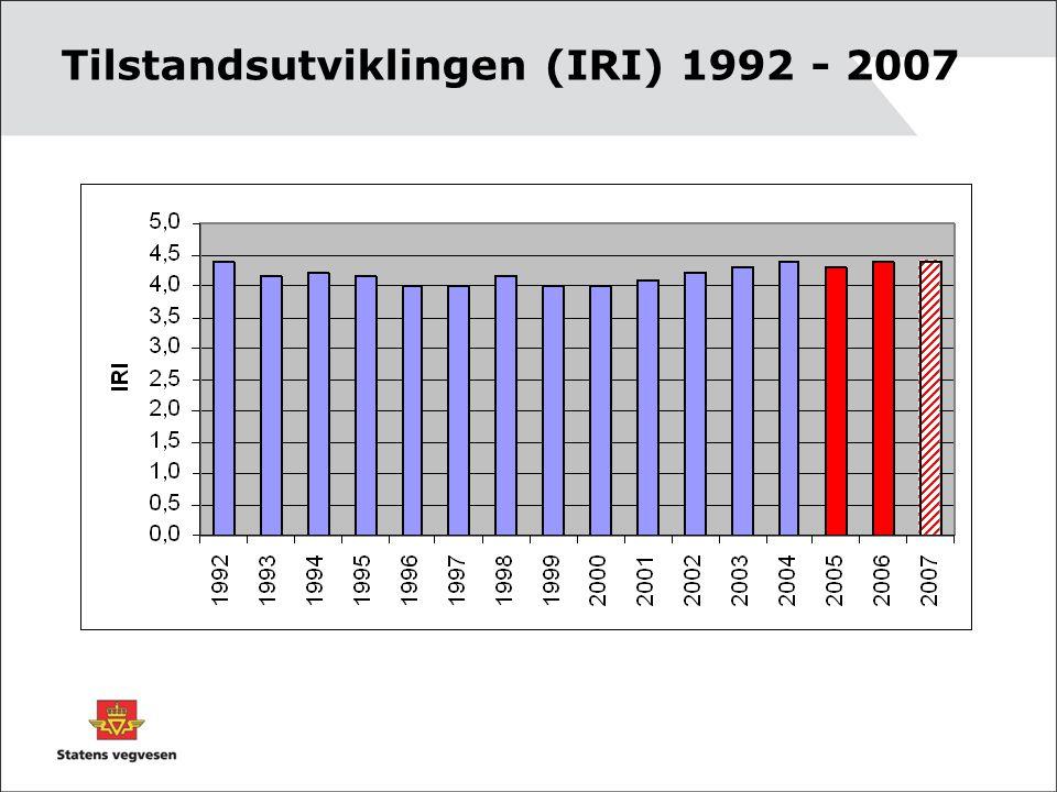 Tilstandsutviklingen (IRI) 1992 - 2007