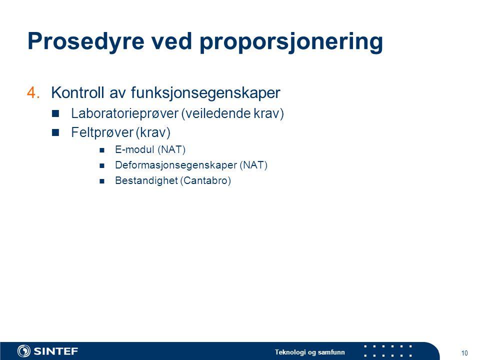 Teknologi og samfunn 10 Prosedyre ved proporsjonering 4.Kontroll av funksjonsegenskaper Laboratorieprøver (veiledende krav) Feltprøver (krav) E-modul