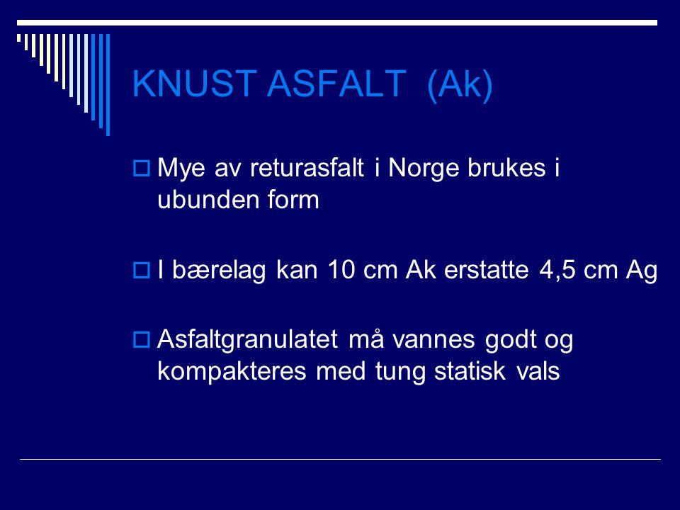 KNUST ASFALT (Ak)  Mye av returasfalt i Norge brukes i ubunden form  I bærelag kan 10 cm Ak erstatte 4,5 cm Ag  Asfaltgranulatet må vannes godt og
