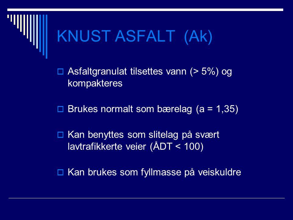 KNUST ASFALT (Ak)  Asfaltgranulat tilsettes vann (> 5%) og kompakteres  Brukes normalt som bærelag (a = 1,35)  Kan benyttes som slitelag på svært l