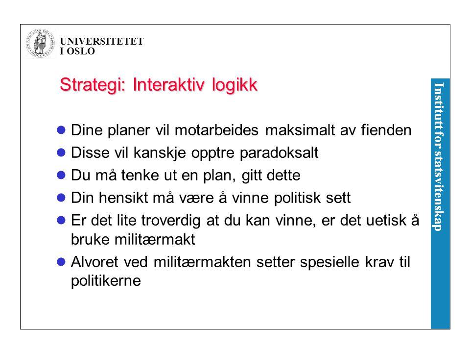 UNIVERSITETET I OSLO Institutt for statsvitenskap Strategi: Interaktiv logikk Dine planer vil motarbeides maksimalt av fienden Disse vil kanskje opptr