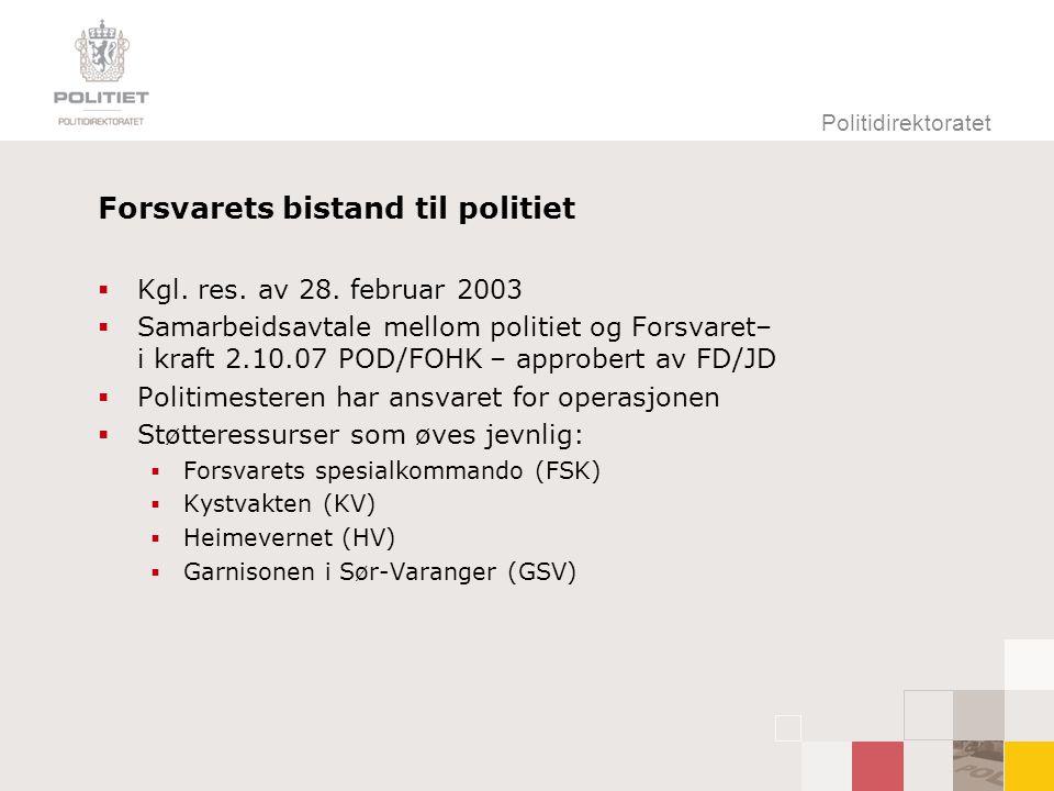 Politidirektoratet Forsvarets bistand til politiet  Kgl. res. av 28. februar 2003  Samarbeidsavtale mellom politiet og Forsvaret– i kraft 2.10.07 PO