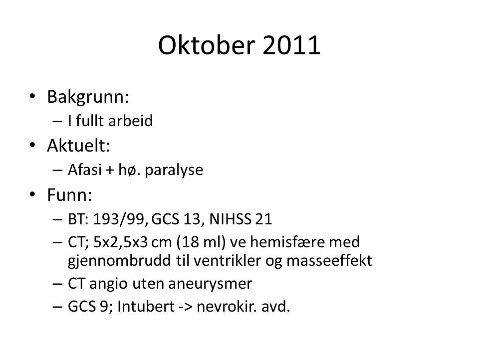 Oktober 2011 Bakgrunn: – I fullt arbeid Aktuelt: – Afasi + hø. paralyse Funn: – BT: 193/99, GCS 13, NIHSS 21 – CT; 5x2,5x3 cm (18 ml) ve hemisfære med