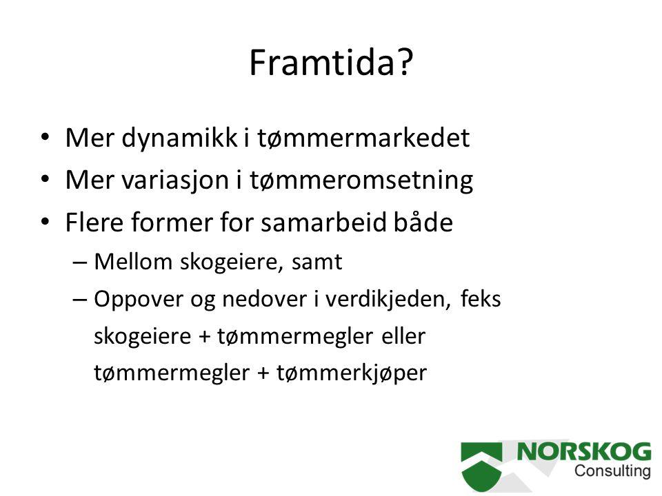 Framtida? Mer dynamikk i tømmermarkedet Mer variasjon i tømmeromsetning Flere former for samarbeid både – Mellom skogeiere, samt – Oppover og nedover