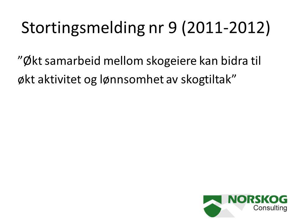 """Stortingsmelding nr 9 (2011-2012) """"Økt samarbeid mellom skogeiere kan bidra til økt aktivitet og lønnsomhet av skogtiltak"""""""