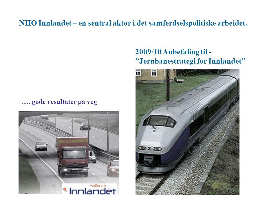 """NHO Innlandet – en sentral aktør i det samferdselspolitiske arbeidet. 2009/10 Anbefaling til - """"Jernbanestrategi for Innlandet"""" …. gode resultater på"""