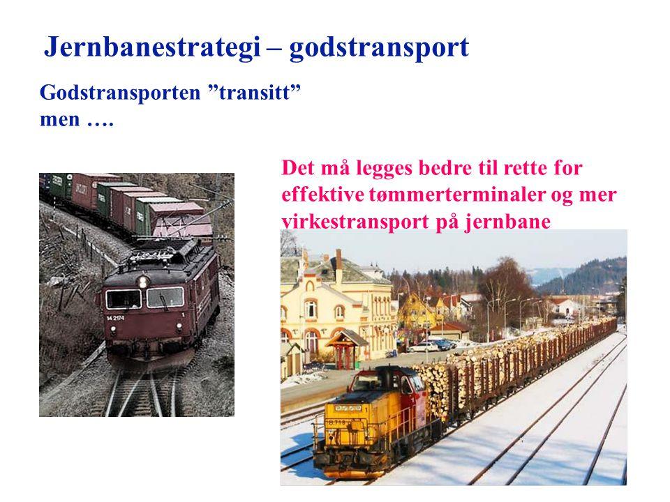 """Godstransporten """"transitt"""" men …. Det må legges bedre til rette for effektive tømmerterminaler og mer virkestransport på jernbane Jernbanestrategi – g"""
