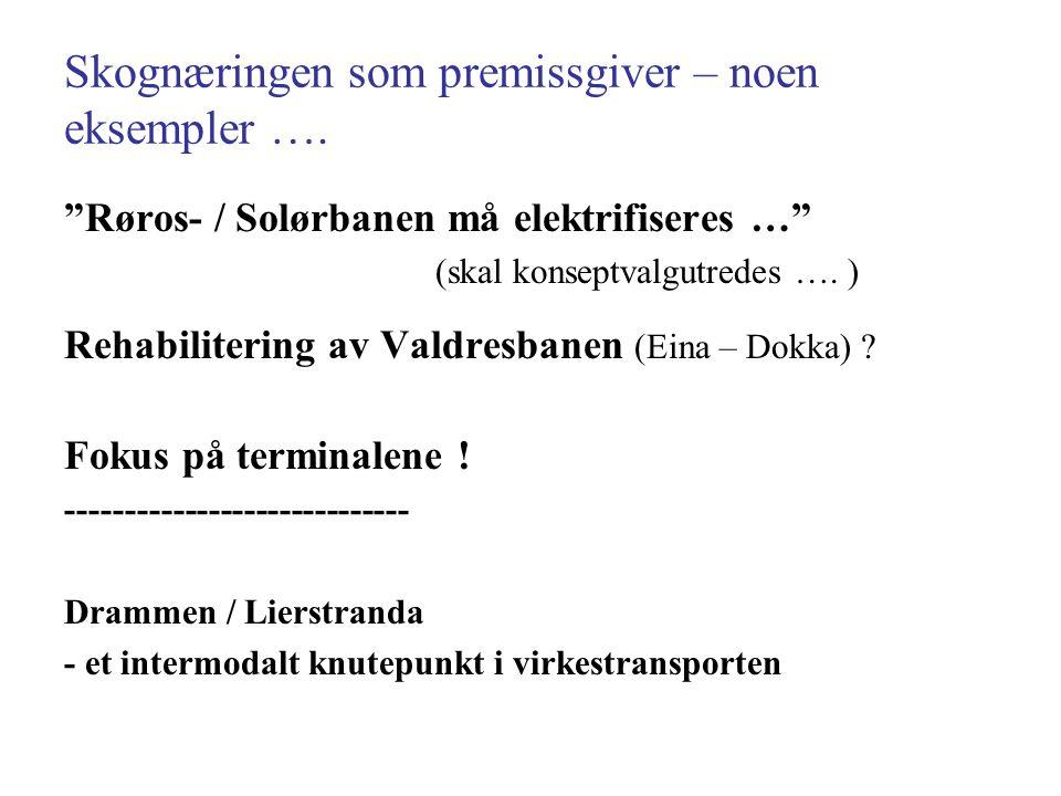 """Skognæringen som premissgiver – noen eksempler …. """"Røros- / Solørbanen må elektrifiseres …"""" (skal konseptvalgutredes …. ) Rehabilitering av Valdresban"""