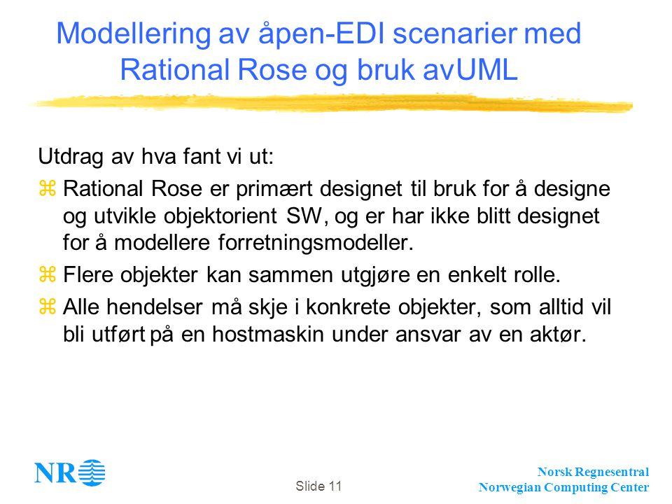 Norsk Regnesentral Norwegian Computing Center Slide 11 Modellering av åpen-EDI scenarier med Rational Rose og bruk avUML Utdrag av hva fant vi ut: zRational Rose er primært designet til bruk for å designe og utvikle objektorient SW, og er har ikke blitt designet for å modellere forretningsmodeller.