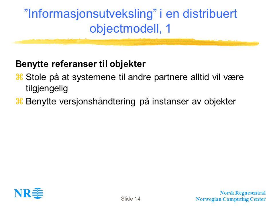 Norsk Regnesentral Norwegian Computing Center Slide 14 Informasjonsutveksling i en distribuert objectmodell, 1 Benytte referanser til objekter zStole på at systemene til andre partnere alltid vil være tilgjengelig zBenytte versjonshåndtering på instanser av objekter