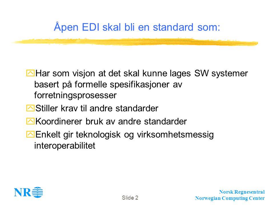 Norsk Regnesentral Norwegian Computing Center Slide 2 Åpen EDI skal bli en standard som: yHar som visjon at det skal kunne lages SW systemer basert på formelle spesifikasjoner av forretningsprosesser yStiller krav til andre standarder yKoordinerer bruk av andre standarder yEnkelt gir teknologisk og virksomhetsmessig interoperabilitet