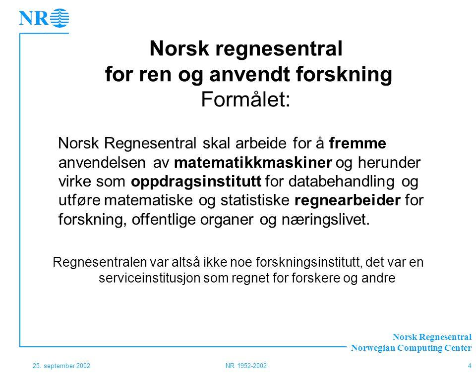 Norsk Regnesentral Norwegian Computing Center 25. september 2002NR 1952-20024 Norsk regnesentral for ren og anvendt forskning Formålet: Norsk Regnesen