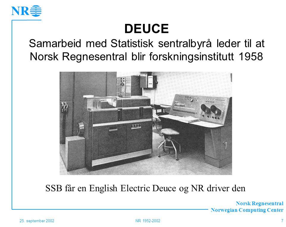 Norsk Regnesentral Norwegian Computing Center 25. september 2002NR 1952-20027 DEUCE Samarbeid med Statistisk sentralbyrå leder til at Norsk Regnesentr