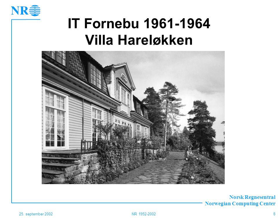 Norsk Regnesentral Norwegian Computing Center 25. september 2002NR 1952-20028 IT Fornebu 1961-1964 Villa Hareløkken