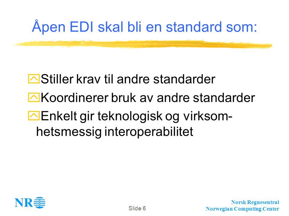 Norsk Regnesentral Norwegian Computing Center Slide 6 Åpen EDI skal bli en standard som: yStiller krav til andre standarder yKoordinerer bruk av andre standarder yEnkelt gir teknologisk og virksom- hetsmessig interoperabilitet