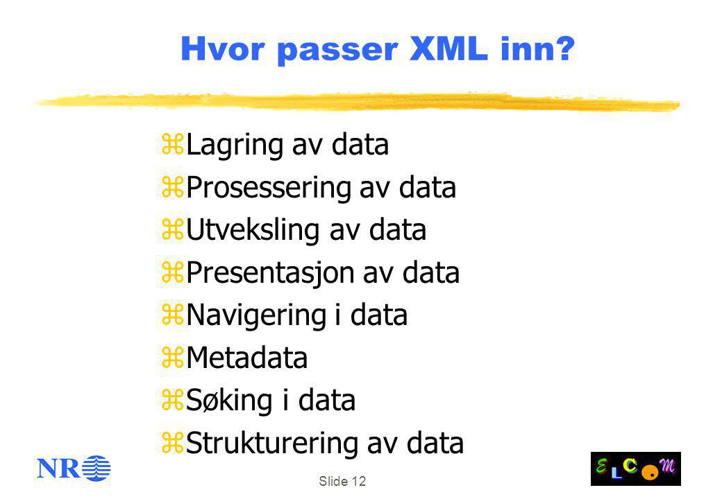Slide 12 Hvor passer XML inn? zLagring av data zProsessering av data zUtveksling av data zPresentasjon av data zNavigering i data zMetadata zSøking i