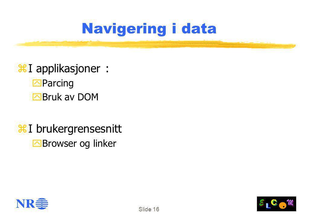 Slide 16 Navigering i data zI applikasjoner : yParcing yBruk av DOM zI brukergrensesnitt yBrowser og linker