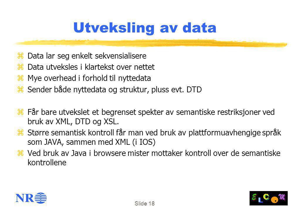 Slide 18 Utveksling av data zData lar seg enkelt sekvensialisere zData utveksles i klartekst over nettet zMye overhead i forhold til nyttedata zSender