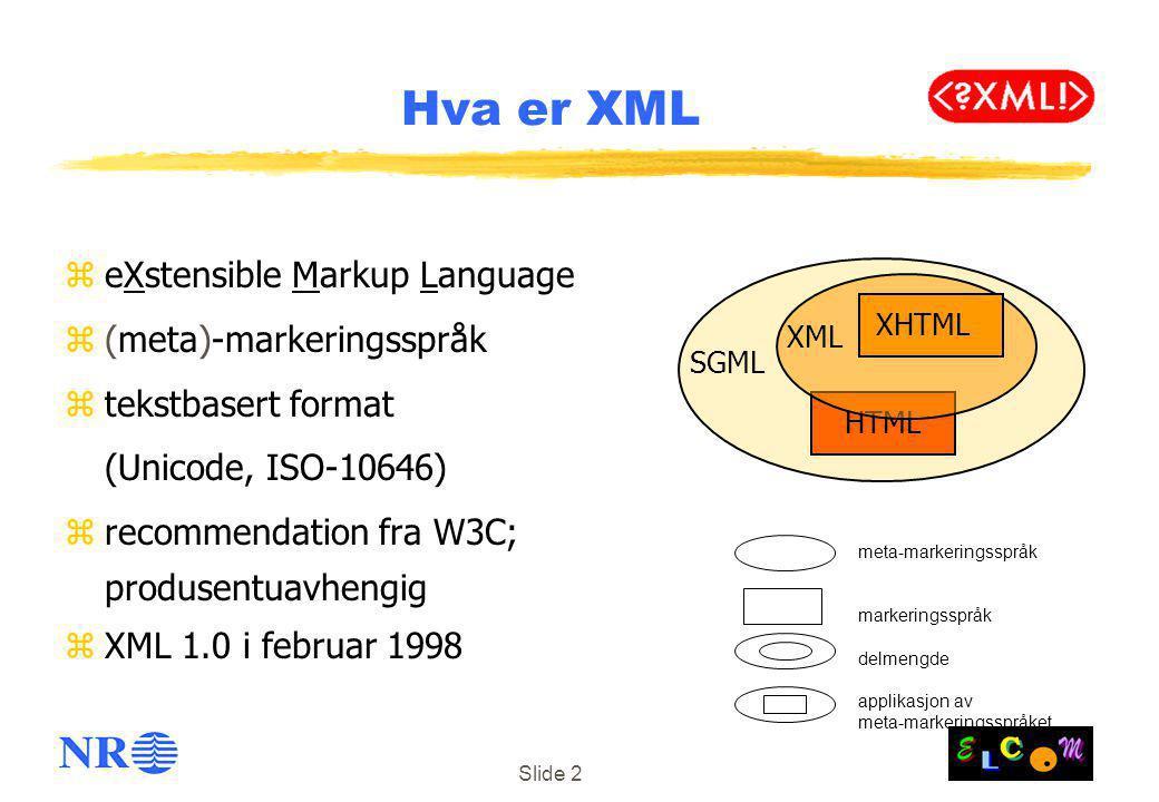 Slide 2 zeXstensible Markup Language z(meta)-markeringsspråk ztekstbasert format (Unicode, ISO-10646) zrecommendation fra W3C; produsentuavhengig zXML 1.0 i februar 1998 Hva er XML SGML HTML XML XHTML meta-markeringsspråk markeringsspråk delmengde applikasjon av meta-markeringsspråket