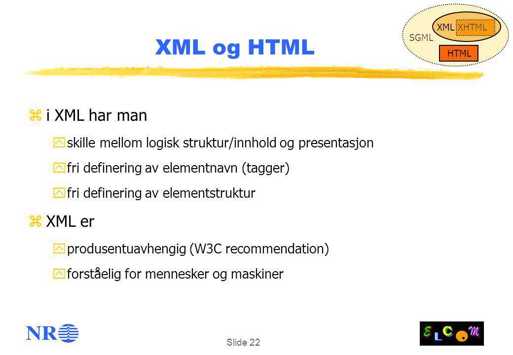 Slide 22 zi XML har man yskille mellom logisk struktur/innhold og presentasjon yfri definering av elementnavn (tagger) yfri definering av elementstruktur zXML er yprodusentuavhengig (W3C recommendation) yforståelig for mennesker og maskiner XML og HTML SGML HTML XMLXHTML