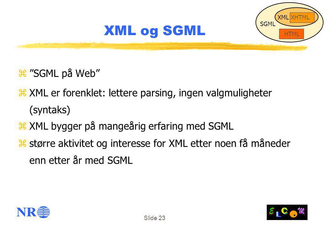 Slide 23 XML og SGML z SGML på Web zXML er forenklet: lettere parsing, ingen valgmuligheter (syntaks) zXML bygger på mangeårig erfaring med SGML zstørre aktivitet og interesse for XML etter noen få måneder enn etter år med SGML SGML HTML XML XHTML