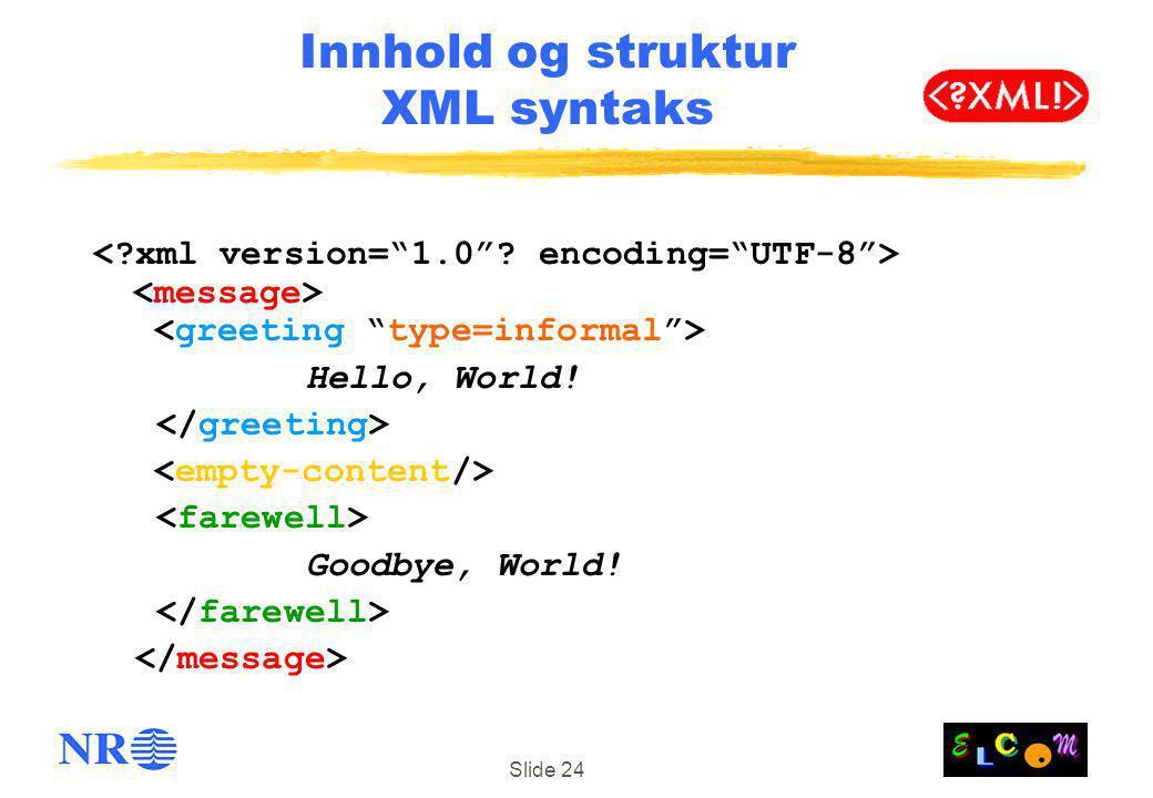 Slide 24 Innhold og struktur XML syntaks Hello, World! Goodbye, World!
