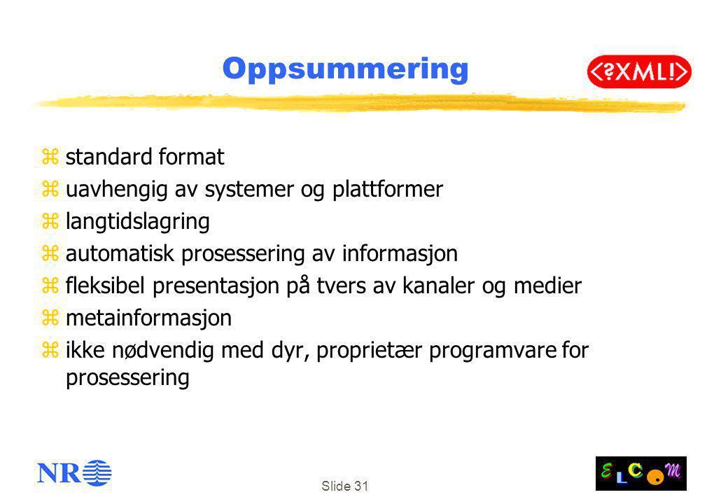 Slide 31 Oppsummering zstandard format zuavhengig av systemer og plattformer zlangtidslagring zautomatisk prosessering av informasjon zfleksibel presentasjon på tvers av kanaler og medier zmetainformasjon zikke nødvendig med dyr, proprietær programvare for prosessering
