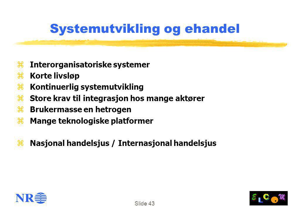 Slide 43 Systemutvikling og ehandel z Interorganisatoriske systemer z Korte livsløp z Kontinuerlig systemutvikling z Store krav til integrasjon hos ma