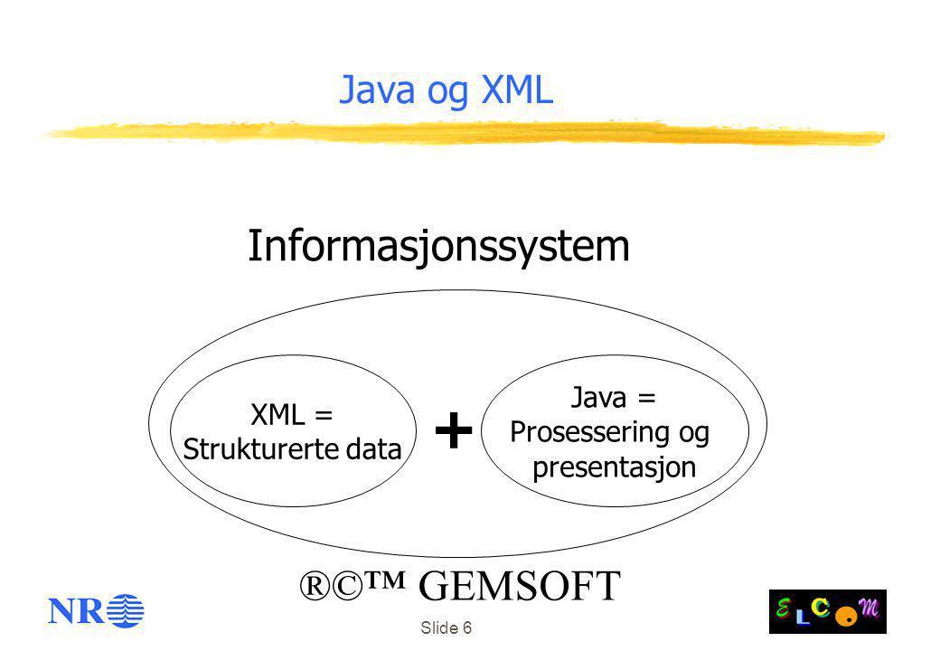 Slide 6 Java og XML XML = Strukturerte data Java = Prosessering og presentasjon Informasjonssystem + ®©™ GEMSOFT