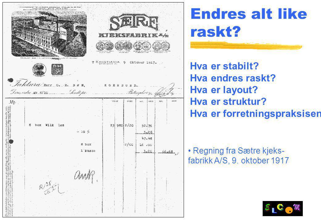 Slide 9 Endres alt like raskt? Regning fra Sætre kjeks- fabrikk A/S, 9. oktober 1917 Hva er stabilt? Hva endres raskt? Hva er layout? Hva er struktur?