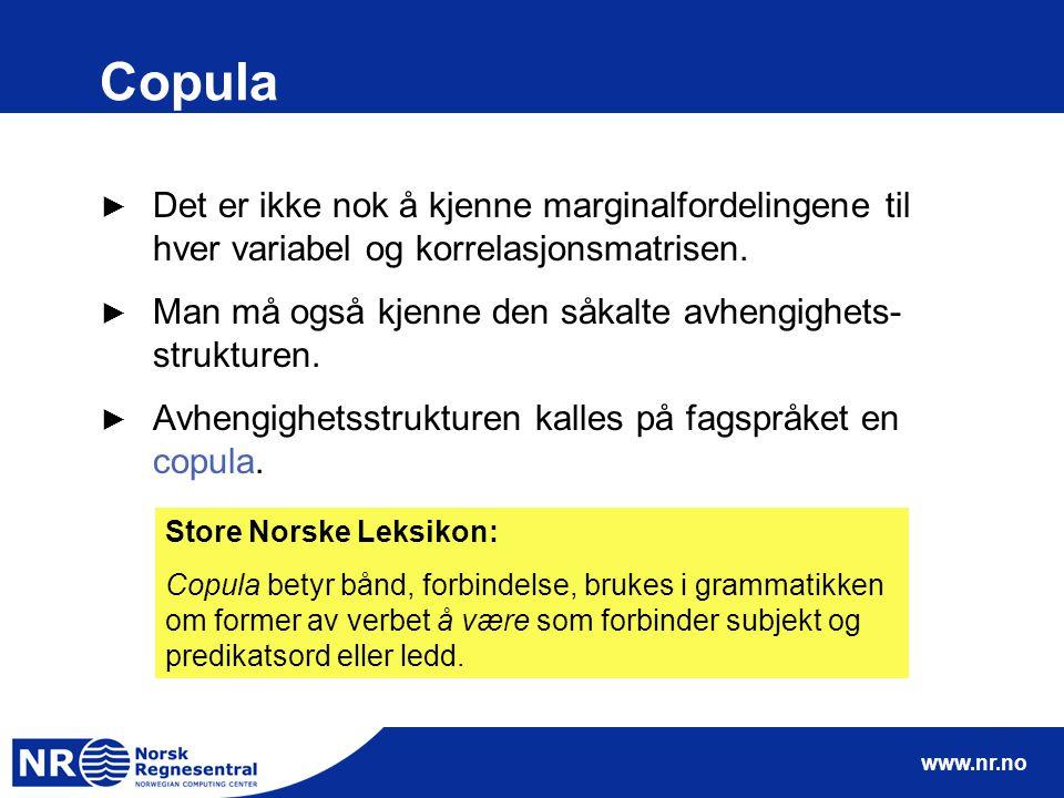 www.nr.no Copula ► Det er ikke nok å kjenne marginalfordelingene til hver variabel og korrelasjonsmatrisen.