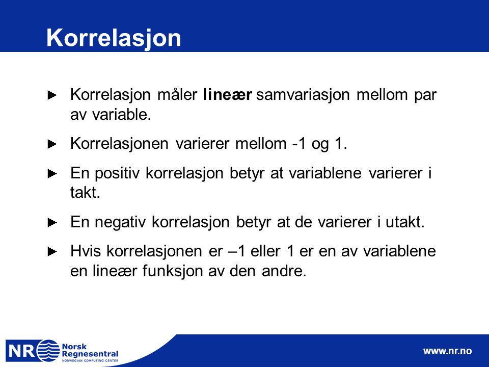 www.nr.no Korrelasjon ► Korrelasjon måler lineær samvariasjon mellom par av variable.