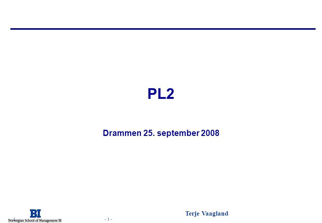 - 1 - Terje Vaagland - 1 - PL2 Drammen 25. september 2008