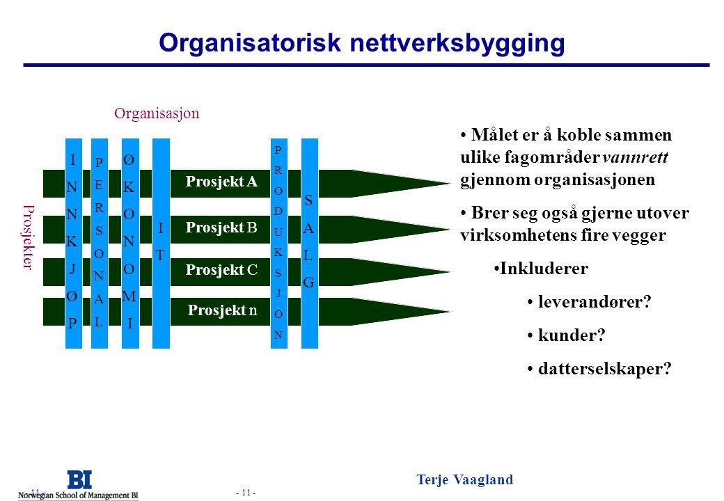 - 11 - Terje Vaagland - 11 - Organisatorisk nettverksbygging Målet er å koble sammen ulike fagområder vannrett gjennom organisasjonen Brer seg også gj