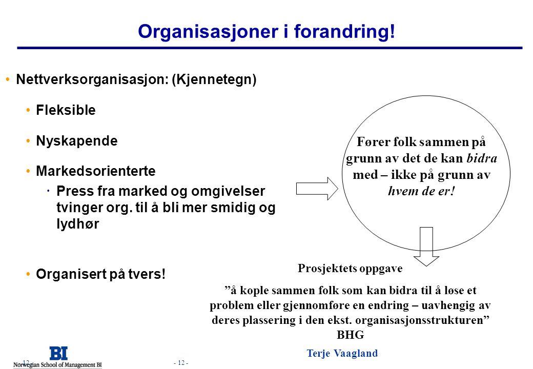 - 12 - Terje Vaagland - 12 - Organisasjoner i forandring! Nettverksorganisasjon: (Kjennetegn) Fleksible Nyskapende Markedsorienterte  Press fra marke