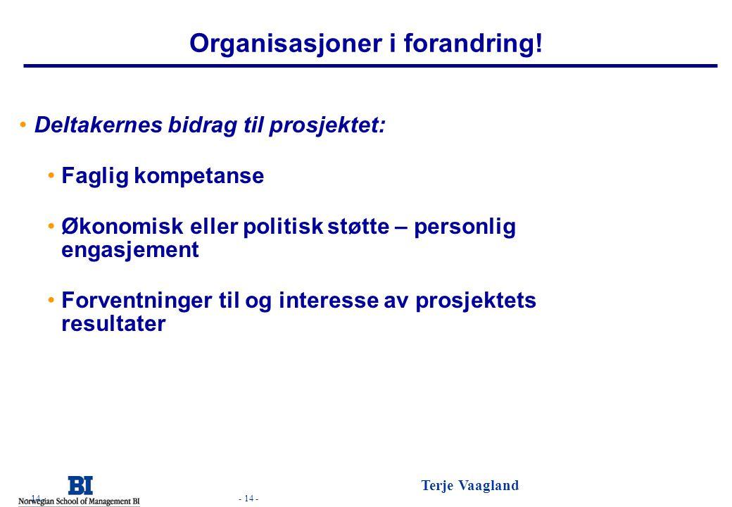 - 14 - Terje Vaagland - 14 - Organisasjoner i forandring! Deltakernes bidrag til prosjektet: Faglig kompetanse Økonomisk eller politisk støtte – perso