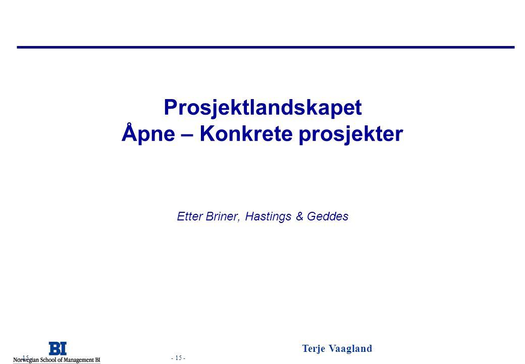 - 15 - Terje Vaagland - 15 - Prosjektlandskapet Åpne – Konkrete prosjekter Etter Briner, Hastings & Geddes