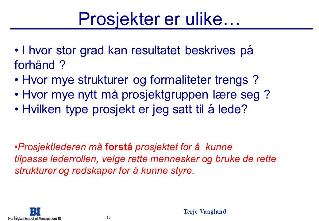 - 16 - Terje Vaagland - 16 - Prosjekter er ulike… I hvor stor grad kan resultatet beskrives på forhånd ? Hvor mye strukturer og formaliteter trengs ?