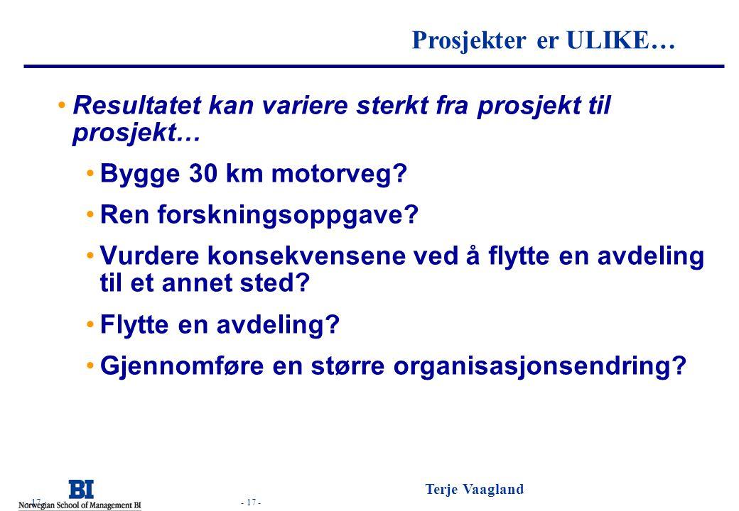 - 17 - Terje Vaagland - 17 - Hva skal prosjektet levere? Resultatet kan variere sterkt fra prosjekt til prosjekt… Bygge 30 km motorveg? Ren forsknings