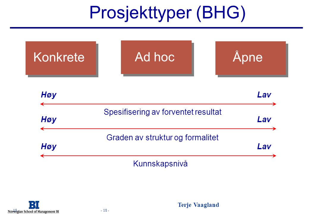 - 18 - Terje Vaagland - 18 - Prosjekttyper (BHG) Konkrete Ad hoc Åpne Høy Lav Spesifisering av forventet resultat Graden av struktur og formalitet Kun