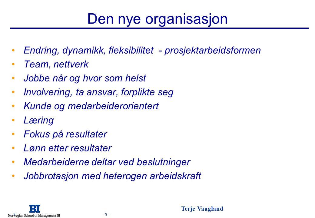 - 8 - Terje Vaagland - 8 - Den nye organisasjon Endring, dynamikk, fleksibilitet - prosjektarbeidsformen Team, nettverk Jobbe når og hvor som helst In