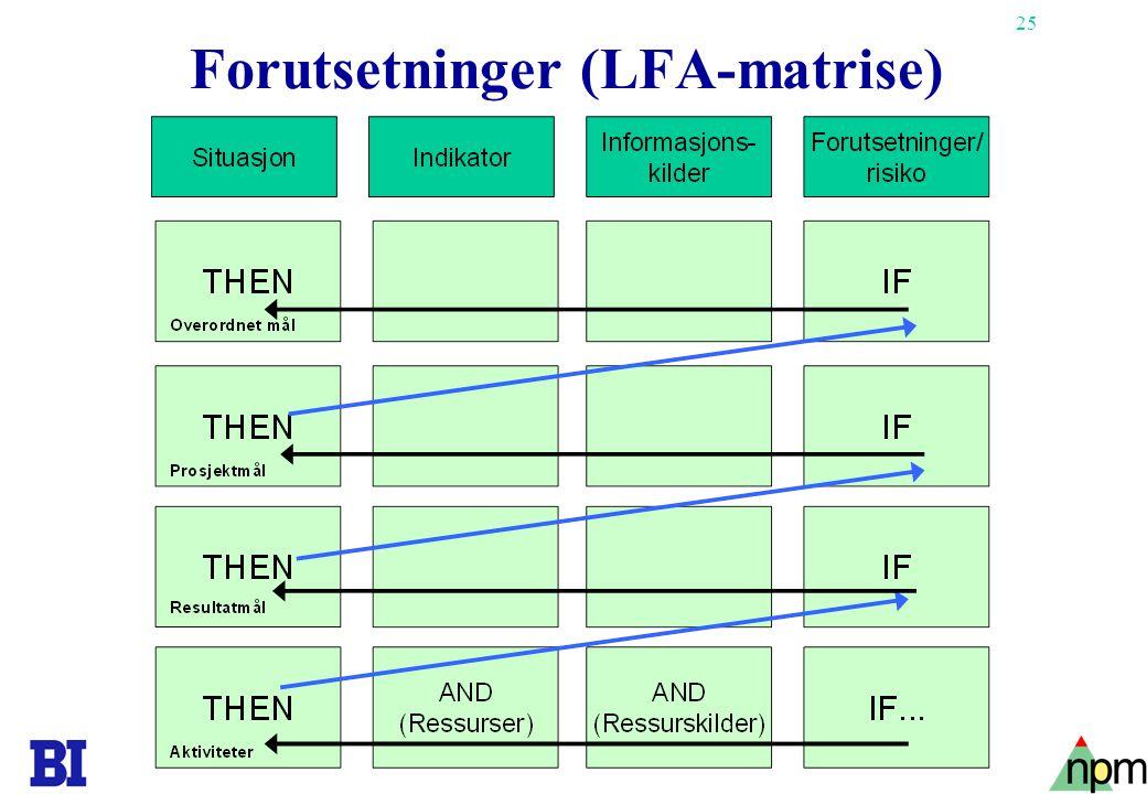 25 Forutsetninger (LFA-matrise)